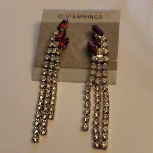 Red & clear rhinestone dangle earrings